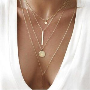 DESIGNER GOLD FOUR LAYERED PLATE NECKLACE